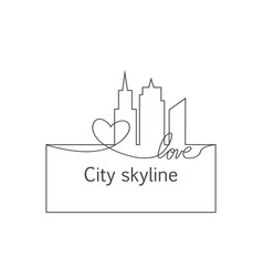 silhouette of the city and heart and love in vector image