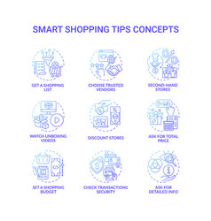 smart shopping tips concept icons set vector image