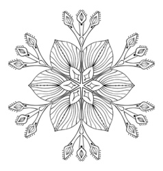 snow flake in zentangle doodle style black mandala vector image vector image