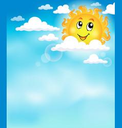 Sun on sky theme image 2 vector