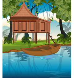 thai traditional house in nature vector image