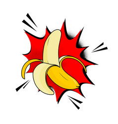 the banana pop art style banana vector image