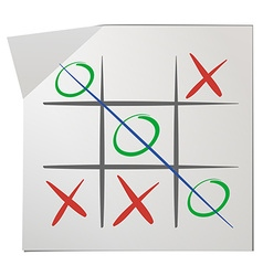 Tic tac toe on white paper vector