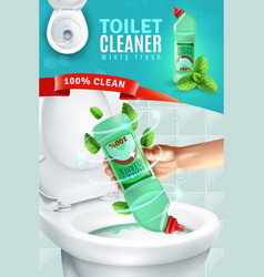 toilet cleaner ad background vector image