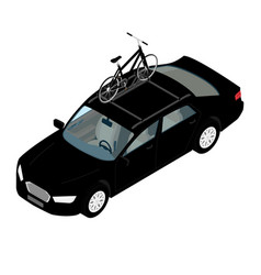 Transporting bicycles on rack bikes on trunk vector