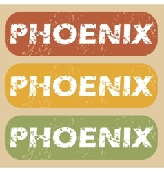 Vintage Phoenix stamp set vector