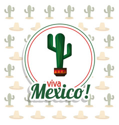 viva mexico invitation party cactus background vector image