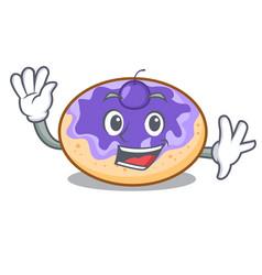 waving donut blueberry character cartoon vector image