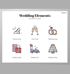 wedding elements linecolor pack vector image