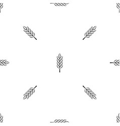 Wheat spike pattern seamless black vector