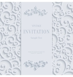 White 3d Vintage Invitation Card with Swirl vector image
