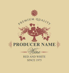 Wine label with a bowl of fruit berries and lilac vector