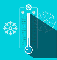 Winter thermometer symbol with cold temperature vector
