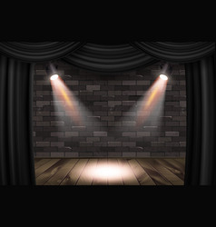 Wooden stage with black curtains vector