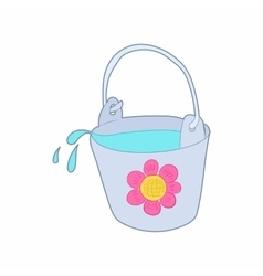 Bucket of water for the garden icon cartoon style vector image