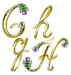Gold alphabet with diamonds and gems letters GH vector image vector image