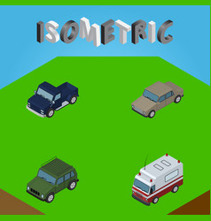 Isometric automobile set of first-aid suv vector
