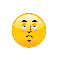 sad emoji isolated dull yellow circle emotion vector image vector image