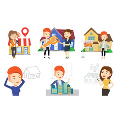 set of real estate agents and house owners vector image vector image