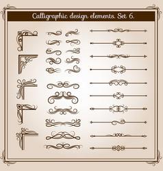 vintage linear ornate decorative elements vector image vector image