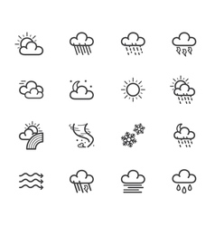 weather element black icon set on white bg vector image vector image