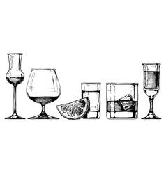 Glasses goblets set vector