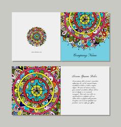 greeting card design floral mandala vector image