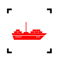 ship sign red icon inside vector image