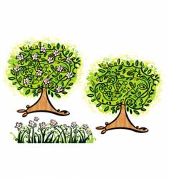 trees and grass vector image vector image