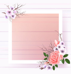 beautiful square frame with pink roses and pearls vector image vector image