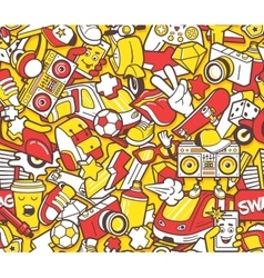 Graffiti seamless pattern with line icons collage vector image vector image