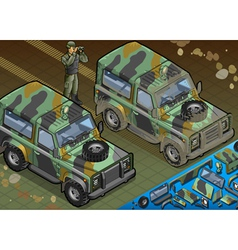 Isometric Military Jeep with Soldier in Front View vector image vector image