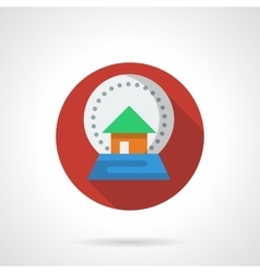 New Year snow globe red round flat icon vector image