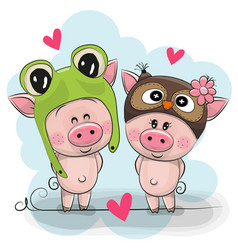 two cute pigs in a frog and owl hat vector image