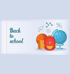 Back school banner horizontal man cartoon style vector