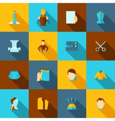 Clothes designer icons flat vector image vector image