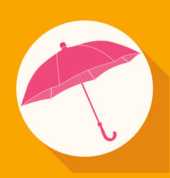 icon umbrella on white circle with a long shadow vector image