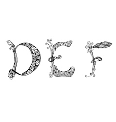 set with doodle hand written DEF letters vector image