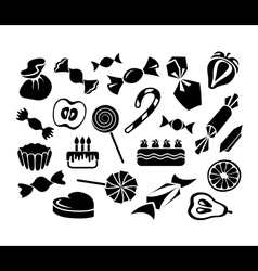 Sweets fruits and cakes vector image