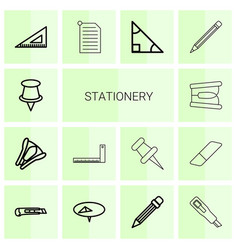 14 stationery icons vector