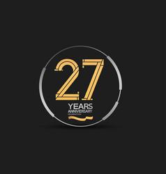 27 years golden anniversary logotype golden vector