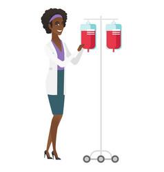 African-american doctor preparing drop counter vector
