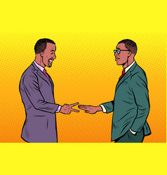 african businessmen game rock paper scissors vector image