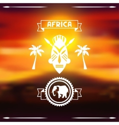 African ethnic background on evening savanna vector