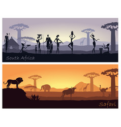 African landscape with people and animals vector