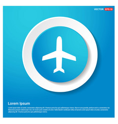 Airplane icon abstract blue web sticker button vector