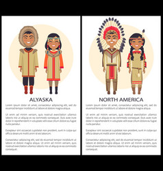 Alaska and north america people wearing cothes vector
