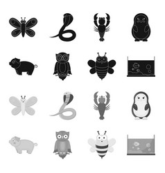 an unrealistic blackmonochrome animal icons in vector image