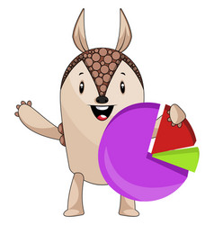 armadillo doing analytics on white background vector image