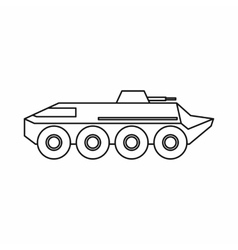 Armoured troop carrier wheeled icon outline style vector